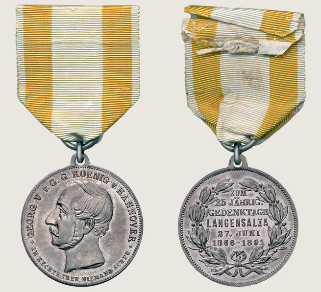 25 Anniversary of Langensalza Battle Commemorative Medal 1