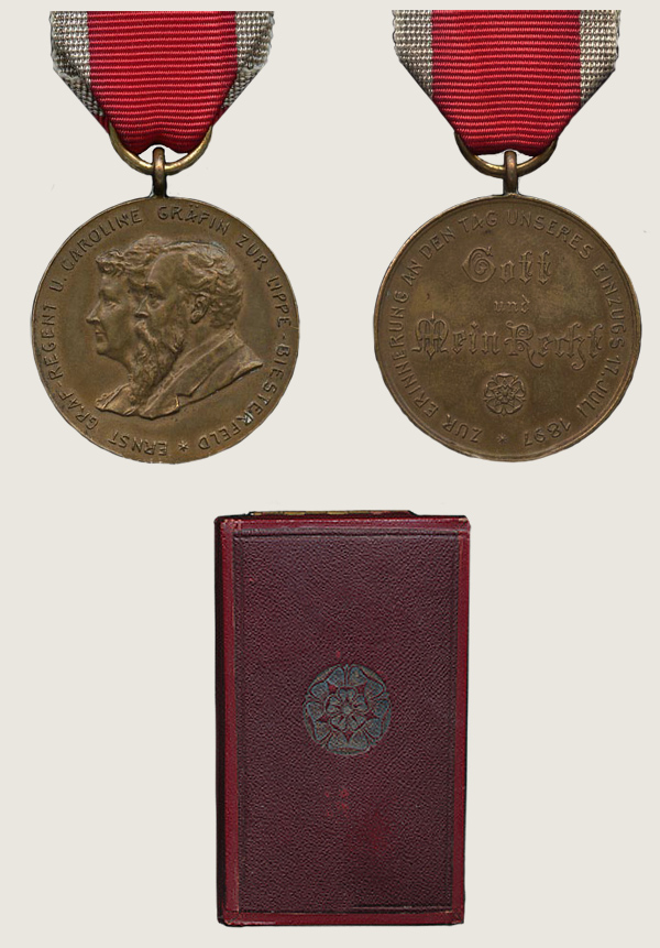 Medal Commemorating Arrival of Count Regent Ernst in Detmold 1